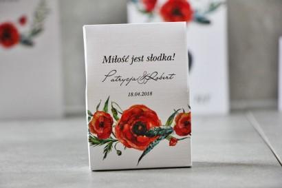 Pudełeczko stojące na cukierki, podziękowania dla Gości weselnych - Pistacjowe nr 19 - Czerwone polne maki