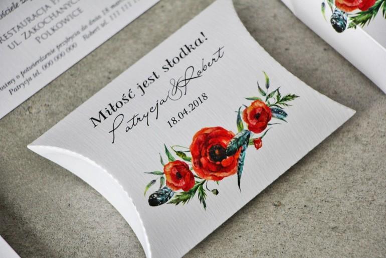 Pudełeczko poduszeczka na cukierki, podziękowania dla Gości weselnych - Pistacjowe nr 19 - Czerwone polne maki