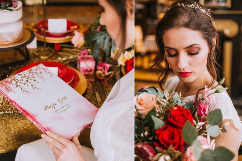 Księga Gości ślubnych, weselnych ze złoceniami na okładce.