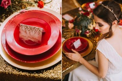 Winietki ślubne ze złoceniem. Wizytówki na stół weselny