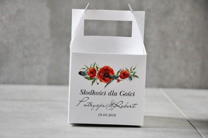 Pudełko na ciasto kwadratowe, tort weselny - Pistacjowe nr 19 - Czerwone maki
