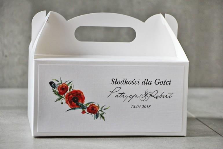 Prostokątne pudełko na ciasto, tort weselny, Ślub - Pistacjowe nr 19 - Intensywnie czerwone polne maki