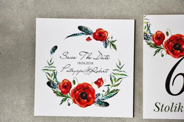 Bilecik Save The Date do zaproszenia - Pistacjowe nr 19 - Czerwone polne maki