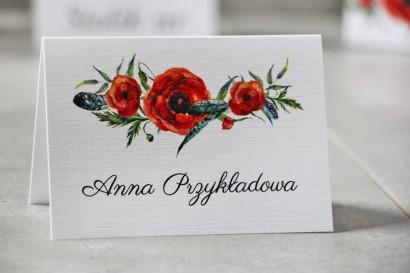Winietki na stół weselny, ślub - Pistacjowe nr 19 - Czerwone polne maki