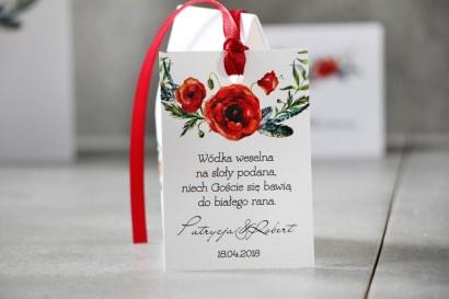 Zawieszka na butelkę, Wódka weselna, ślub - Pistacjowe nr 19 - Wiosenne czerwone maki