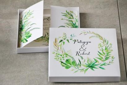Efektowne Zaproszenie ślubne w pudełku - Pistacjowe 20 - Intensywnie zielona polna trawa, greenery