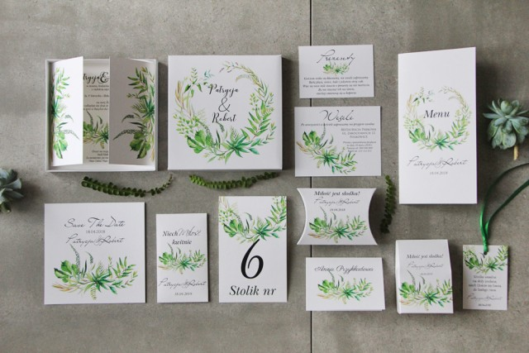 Efektowne zaproszenie ślubne w pudełku z dodatkami - Pistacjowe 20 - Intensywnie zielona polna trawa, greenery
