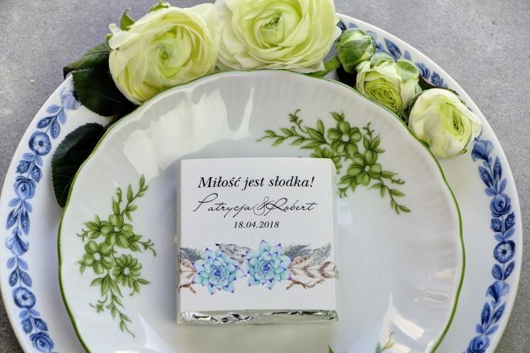 podziękowania dla gości weselnych sukulent