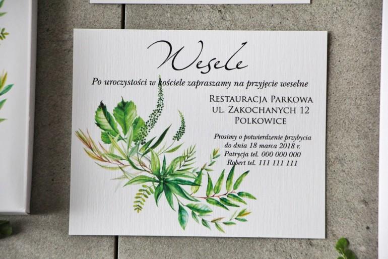 Bilecik do zaproszenia 120 x 98 mm prezenty ślubne wesele - Pistacjowe nr 20 - Greenery, polna trawa.
