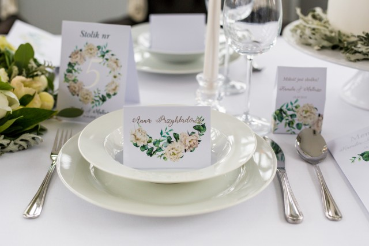 kwiatowe zaproszenia ślubne - eukaliptus