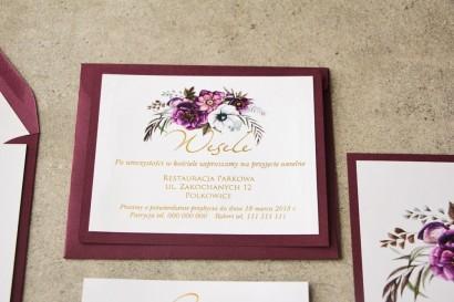 Bilecik dwuwarstwowy prezenty ślubne wesele - Cykade nr 1 ze złoceniem - Kwiaty w odcieniach chłodnego fioletu