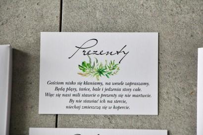 Bilecik do zaproszenia 105 x 74 mm prezenty ślubne wesele - Pistacjowe nr 20 - Kompozycja greenery, polna trawa