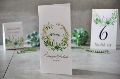 Menu weselne, ślub, stół weselny - Pistacjowe nr 20 - Polna trawa, greenery