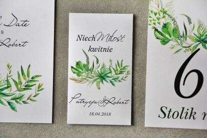 Podziękowania dla Gości weselnych - Nasiona Niezapominajki - Pistacjowe nr 20 - Intensywnie zielona kompozycja greenery.