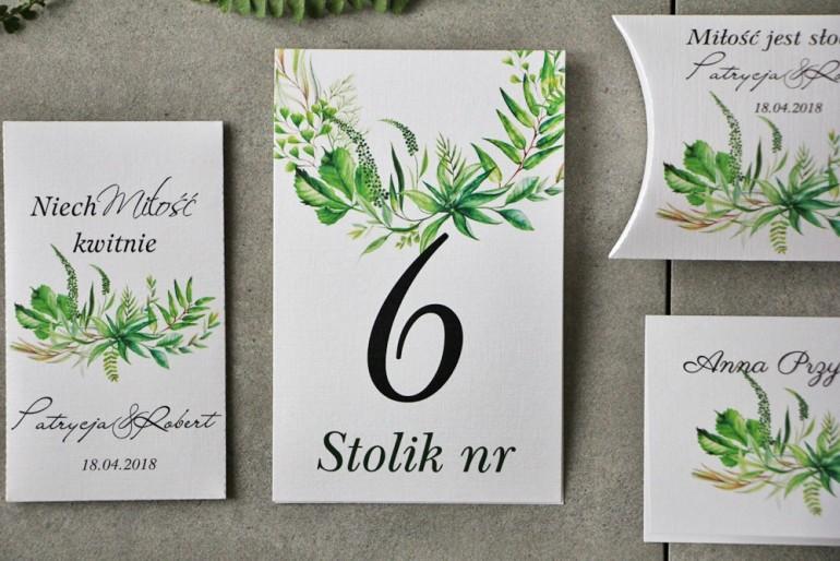 Numery stolików, stół weselny, Ślub - Pistacjowe nr 20 - Intensywnie zielona polna trawa, greenery