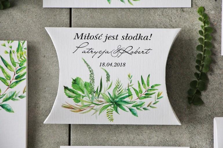 Pudełeczko poduszeczka na cukierki, podziękowania dla Gości weselnych - Pistacjowe nr 20 - Zielona polna trawa