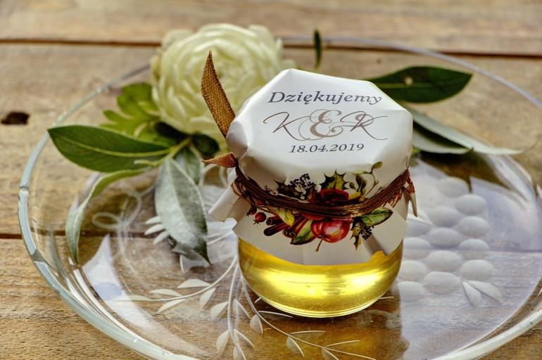 Słodkie upominki dla gości weselnych, ślubnych w postaci słoiczków z Miodem. Zimowo-świąteczna kompozycja z czerwonymi różami