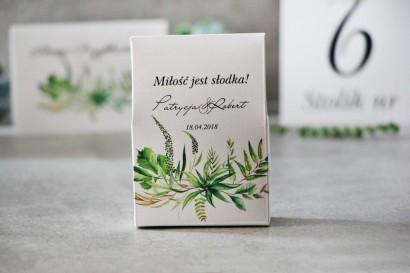 Pudełeczko stojące na cukierki, podziękowania dla Gości weselnych - Pistacjowe nr 20 - Polna trawa, greenery