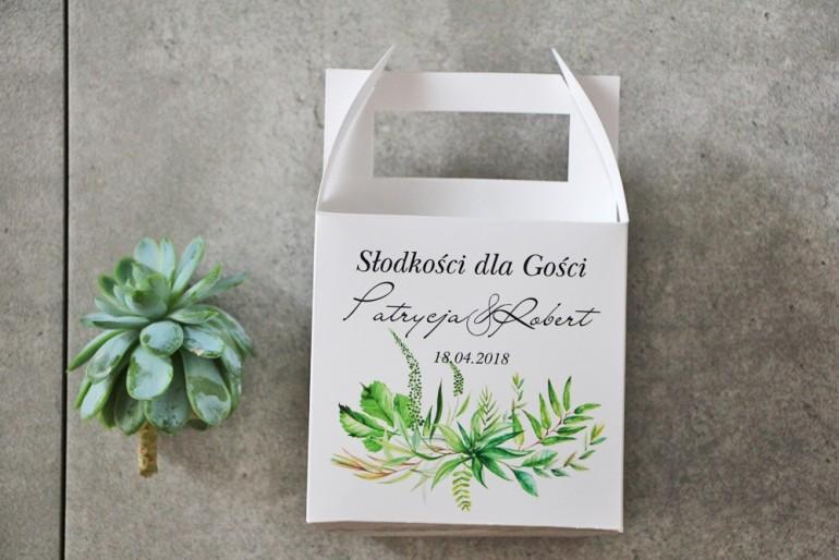 Pudełko na ciasto kwadratowe, tort weselny - Pistacjowe nr 20 - Polna trawa, greenery