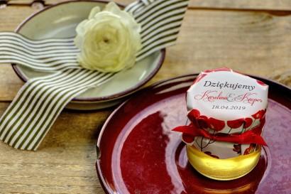 Słodkie upominki dla gości weselnych, ślubnych w postaci słoiczków z Miodem. Jesienno-zimowy wzór