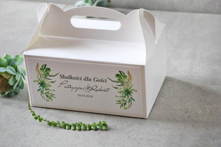Prostokątne pudełko na ciasto, tort weselny, Ślub - Pistacjowe nr 20 - Zielona kompozycja polnej trawy, greenery