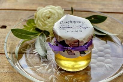 Słodkie upominki dla gości weselnych, ślubnych w postaci słoiczków z Miodem. Eleganckie połączenie kwiatów róży