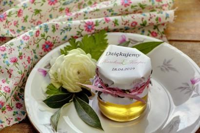 Słodkie upominki dla gości weselnych, ślubnych w postaci słoiczków z Miodem. Delikatne bladoróżowe róże