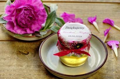 Słodkie upominki dla gości weselnych, ślubnych w postaci słoiczków z Miodem. Piękne różowe gerbery