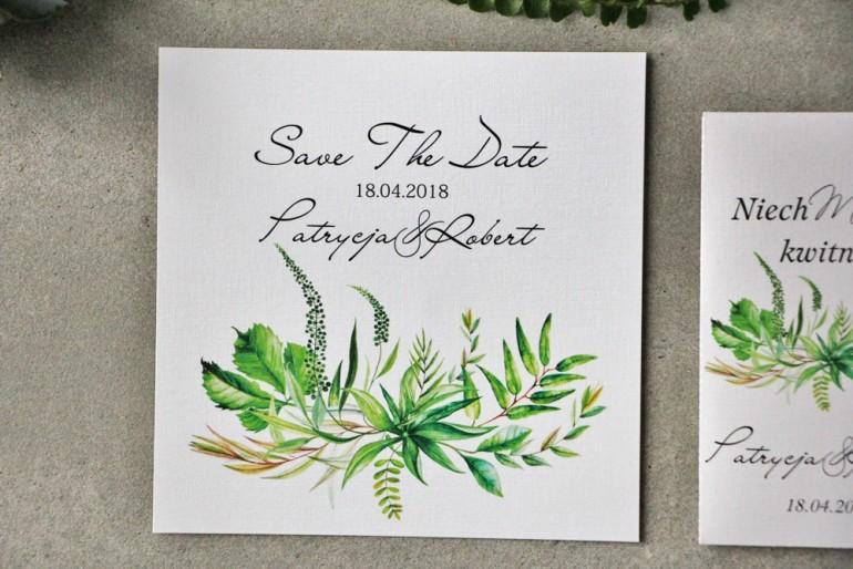 Bilecik Save The Date do zaproszenia - Pistacjowe nr 20 - Zielona polna trawa, greenery