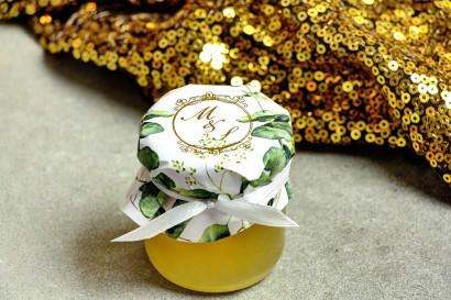 Słoiczek z miodem - słodkie podziękowanie dla gości weselnych. Kapturek ze złoconymi inicjałami.