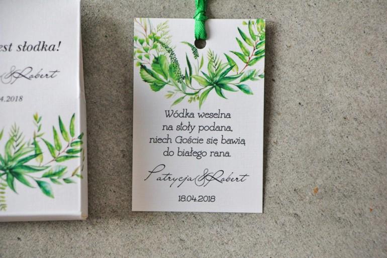Zawieszka na butelkę, Wódka weselna, ślub - Pistacjowe nr 20 - Zielona trawa polna