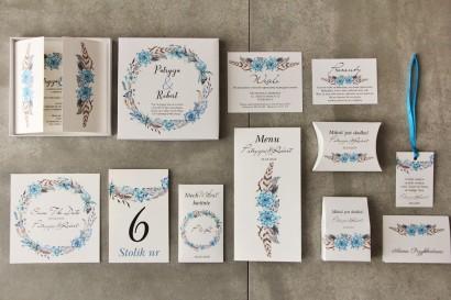 Efektowne zaproszenie ślubne w pudełku z dodatkami - Pistacjowe 21 - Boho w kolorystyce błękitu i brązu