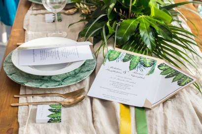 Zaproszenie ślubne, zaproszenia na ślub kwiatowe ze złoceniem - Sorento nr12 - Tropikalne liście