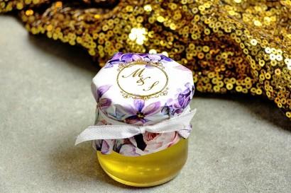 Słoiczek z miodem - słodkie podziękowanie dla gości weselnych. Bukiet w kolorze roku 2018 - ultrafiolet