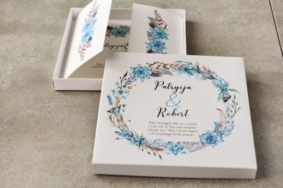 Efektowne Zaproszenie ślubne w pudełku - Pistacjowe 21 - Boho w kolorystyce błękitu i brązu