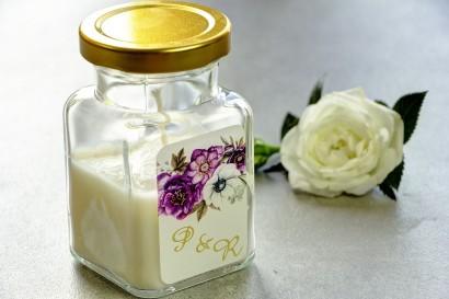 Świeczki - nowe podziękowania i upominki dla gości weselnych, ślubnych. Złocenie na etykiecie oraz grafika z białymi anemonami