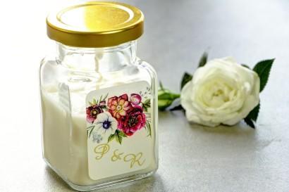 Świeczki - nowe podziękowania i upominki dla gości weselnych, ślubnych. Złocenie na etykiecie