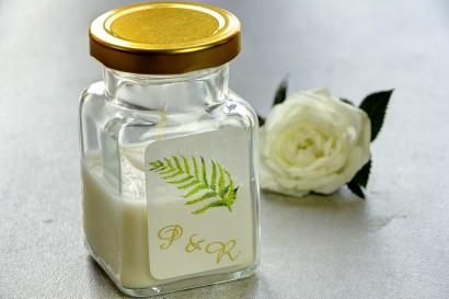 Świeczki - nowe podziękowania i upominki dla gości weselnych, ślubnych. Złocenie na etykiecie oraz grafiką paproci