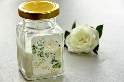 Świeczki - nowe podziękowania i upominki dla gości weselnych, ślubnych. Złocenie na etykiecie oraz grafiką wianka z piwoniami