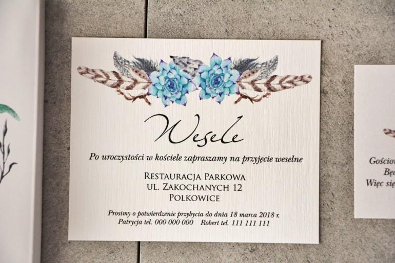 Bilecik do zaproszenia 120 x 98 mm prezenty ślubne wesele - Pistacjowe nr 21 - Błękitne sukulenty boho.