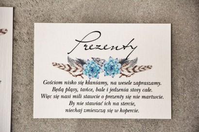 Bilecik do zaproszenia 105 x 74 mm prezenty ślubne wesele - Pistacjowe nr 21 - Błękitne boho sukulenty