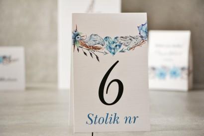 Numery stolików, stół weselny, Ślub - Pistacjowe nr 21 - W stylu boho, w odcieniach błękitu