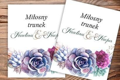 Etykiety samoprzylepne na butelki weselne, ślubne. Oryginalna kompozycja sukulentów w pięknych barwach fioletu