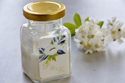 Świeczki - nowe podziękowania i upominki dla gości weselnych, ślubnych. Złocenie na etykiecie oraz grafiką z białymi anemonami