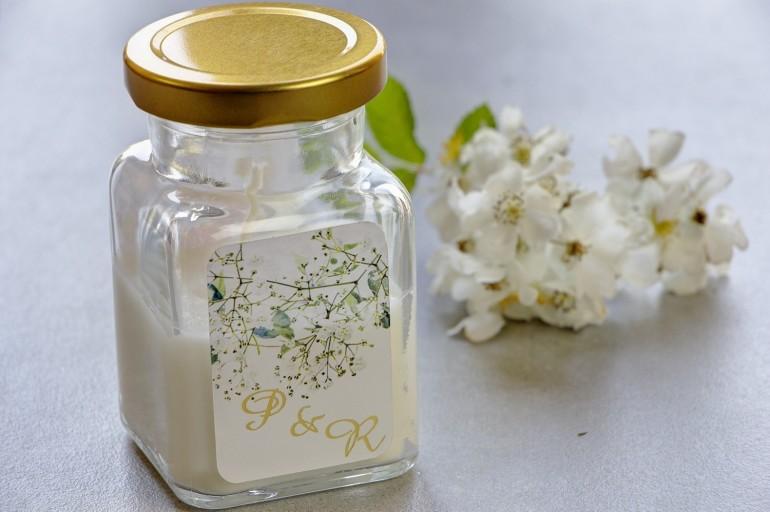 Świeczki - nowe podziękowania i upominki dla gości weselnych, ślubnych. Złocenie na etykiecie oraz grafiką z gipsówką