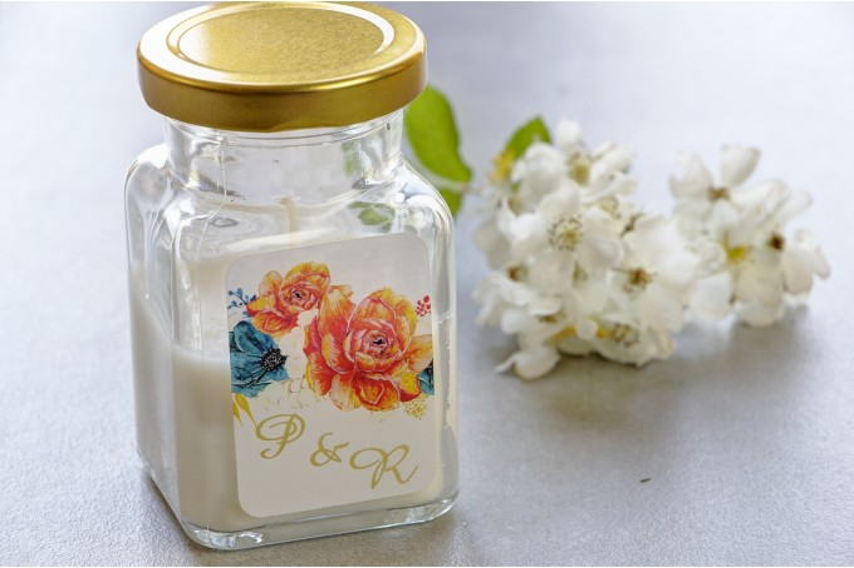 Świeczki - nowe podziękowania i upominki dla gości weselnych, ślubnych. Złocenie na etykiecie oraz grafiką