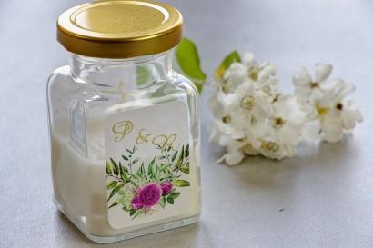 Świeczki - nowe podziękowania i upominki dla gości weselnych, ślubnych. Złocenie na etykiecie oraz grafiką z kwiatami róży