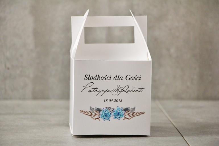Pudełko na ciasto kwadratowe, tort weselny - Pistacjowe nr 21 - Błękitne sukulenty w stylu boho