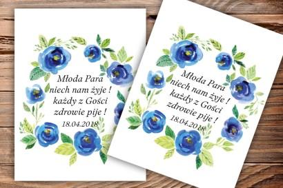 Etykiety samoprzylepne na butelki weselne, ślubne z grafiką akwarelowych róż