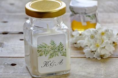 Świeczki - nowe podziękowania i upominki dla gości weselnych, ślubnych. Grafika w stylu greenery z liśćmi paproci